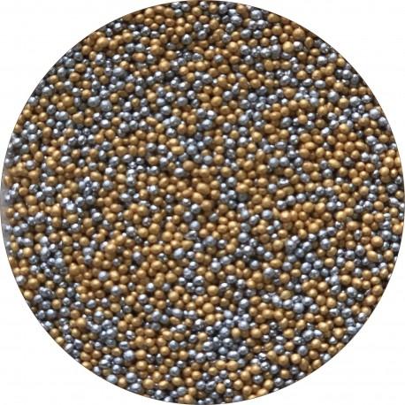 Perle fine 2 mm mix auriu-argintiu