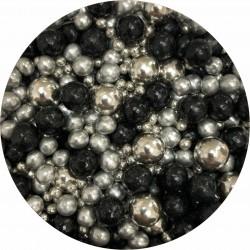 Perle mix negru si argintiu